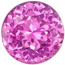 1.26 carats Pink Sapphire Loose Gemstone in Round Cut, Vivid Pink, 6.1 mm