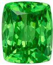 Vivid Green Mint Garnet Genuine Gem, 1.26 carats, Cushion Cut, 6.1 x 5.1  mm , Super Fine Stone