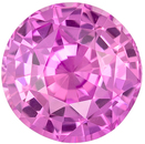 Deal on Genuine Loose Pink Sapphire Gemstone in Round Cut, 6.5 mm, Rich Pure Pink, 1.33 carats