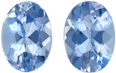 Hard to Find Well Matched Aquamarine Gemstone Pair in Oval Cut, 7 x 5 mm, Rich Sky Blue, 1.36 carats