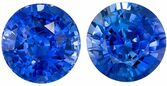 Great Well Matched Blue Blue Green Peach Sapphire Gemstone Pair in Round Cut, 5.1 mm, Vivid Rich Blue, 1.38 carats
