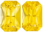 Bright & Lively Well Matched Yellow Sapphire Gemstone Pair in Radiant Cut, 6 x 3.9 mm, Medium Pure Yellow, 1.42 carats