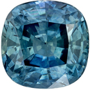 Low Price Genuine Loose Blue Green Sapphire Gemstone in Cushion Cut, 6.1 mm, Medium Teal Blue Green, 1.51 carats