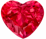 Deal on Rare Genuine Loose Red Spinel Gemstone in Heart Cut, 7.1 x 6.3 mm, Rich Pinkish Red, 1.55 carats