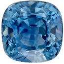 Excellent Genuine Loose Blue Green Sapphire Gemstone in Cushion Cut, 6.1 x 6 mm, Vivid Teal Blue Green, 1.59 carats