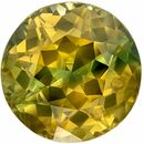 Bright & Lively Bicolor Sapphire Genuine Loose Gemstone in Round Cut, 1.72 carats, Chartreuse with Blue Streak, 6.6 mm