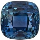 Great No Heat GIA Certified Genuine Loose Blue Green Sapphire Gemstone in Cushion Cut, 6.39 x 6.3 x 4.67 mm, Open Teal Blue, 1.74 carats