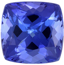 Well Saturated Tanzanite Quality Gem, 6.9 mm, Rich Blue Purple, Cushion Cut, 1.8 carats