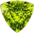 12.7 mm Peridot Genuine Gemstone in Trillion Cut, Medium Lime Green, 6.51 carats