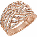 14 Karat Rose Gold 0.50 Carat Diamond Accented Criss-Cross Ring