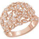 Buy 14 Karat Rose Gold 0.50 Carat Diamond Leaf Ring