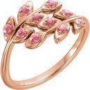 14 Karat Rose Gold Baby Pink Topaz Leaf Design Ring