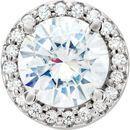 14 Karat White Gold 6.5mm Round Forever One™ Moissanite & .08 Carat Diamond Pendant