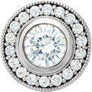 14 Karat White Gold 6.5mm Round Genuine Charles Colvard Forever One Moissanite & 0.33 Carat Diamond Pendant