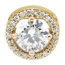 Buy 14 Karat Yellow Gold 5mm Round Forever One™ Moissanite & .06 Carat Diamond 16-18