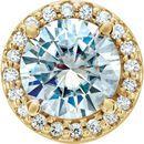 Shop 14 Karat Yellow Gold 6.5mm Round Forever One™ Moissanite & .08 Carat Diamond Pendant