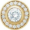 Shop 14 Karat Yellow Gold 6.5mm Round Genuine Charles Colvard Forever One Moissanite & 0.33 Carat Diamond Pendant