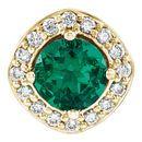 14 Karat Yellow Gold Genuine Chatham Emerald & .08 Carat Diamond Pendant