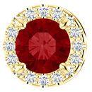 14 Karat Yellow Gold Chatham  Ruby & .07 Carat Diamond Pendant Slide