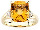 14 Karat Yellow Gold Citrine & 0.17 Carat Diamond Ring