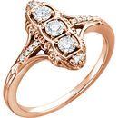 Genuine  14 Karat Rose Gold 0.33 Carat Diamond 3-Stone Ring