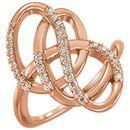 Genuine 14 Karat Rose Gold 0.33 Carat Diamond Ring