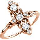Buy 14 Karat Rose Gold 0.20 Carat Three-Stone Diamond Ring