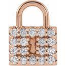 White Diamond Pendant in 14 Karat Rose Gold 1/2 Carat Diamond Lock Pendant