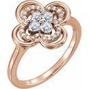 White Diamond Ring in 14 Karat Rose Gold 1/3 Carat Diamond Clover Ring