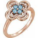 Genuine Aquamarine Ring in 14 Karat Rose Gold Aquamarine & 1/10 Carat Diamond Ring