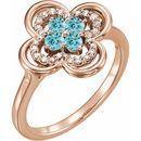 Genuine Zircon Ring in 14 Karat Rose Gold Genuine Zircon & 1/10 Carat Diamond Ring
