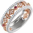 Natural Ruby Ring in 14 Karat White & Rose Gold Ruby & 3/4 Carat Diamond Ring