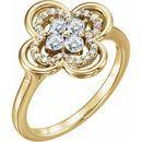 White Diamond Ring in 14 Karat Yellow Gold 1/3 Carat Diamond Clover Ring