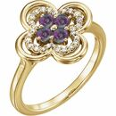 Genuine Alexandrite Ring in 14 Karat Yellow Gold Alexandrite & 1/10 Carat Diamond Ring