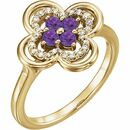 Genuine Amethyst Ring in 14 Karat Yellow Gold Amethyst & 1/10 Carat Diamond Ring