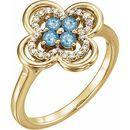Genuine Aquamarine Ring in 14 Karat Yellow Gold Aquamarine & 1/10 Carat Diamond Ring
