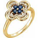 Genuine Sapphire Ring in 14 Karat Yellow Gold Genuine Sapphire & 1/10 Carat Diamond Ring