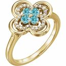 Genuine Zircon Ring in 14 Karat Yellow Gold Genuine Zircon & 1/10 Carat Diamond Ring