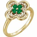 Genuine Emerald Ring in 14 Karat Yellow Gold Emerald & 1/10 Carat Diamond Ring