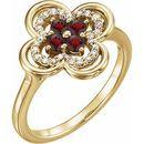 Red Garnet Ring in 14 Karat Yellow Gold Mozambique Garnet & 1/10 Carat Diamond Ring