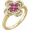 Pink Tourmaline Ring in 14 Karat Yellow Gold Pink Tourmaline & 1/10 Carat Diamond Ring