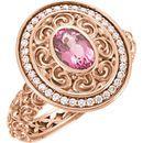 14 Karat Rose Gold 7x5mm Pink Tourmaline & 0.20 Carat Diamond Ring