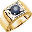14K Two-Tone Blue Sapphire Men's Ring