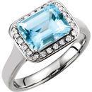 Genuine Aquamarine Ring in 14 Karat White Gold Aquamarine & 0.12 Carat Diamond Halo-Style Ring