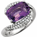 Genuine 14 Karat White Gold Amethyst & 0.40 Carat Diamond Ring