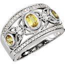 Genuine 14 KT White Gold Canary Yellow Sapphire & 0.25 Carat TW Diamond Ring