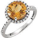 14 Karat White Gold Citrine & 0.17 Carat Diamond Ring