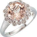 Shop 14 Karat White Gold Morganite & .08 Carat Diamond Ring