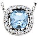 14 Karat White Gold Sky Blue Topaz & .04 Carat Diamond 16