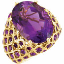 14 Karat Yellow Gold Amethyst Nest Design Ring